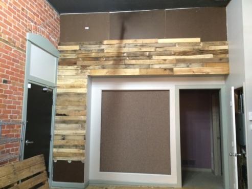 Pallet wall in progress